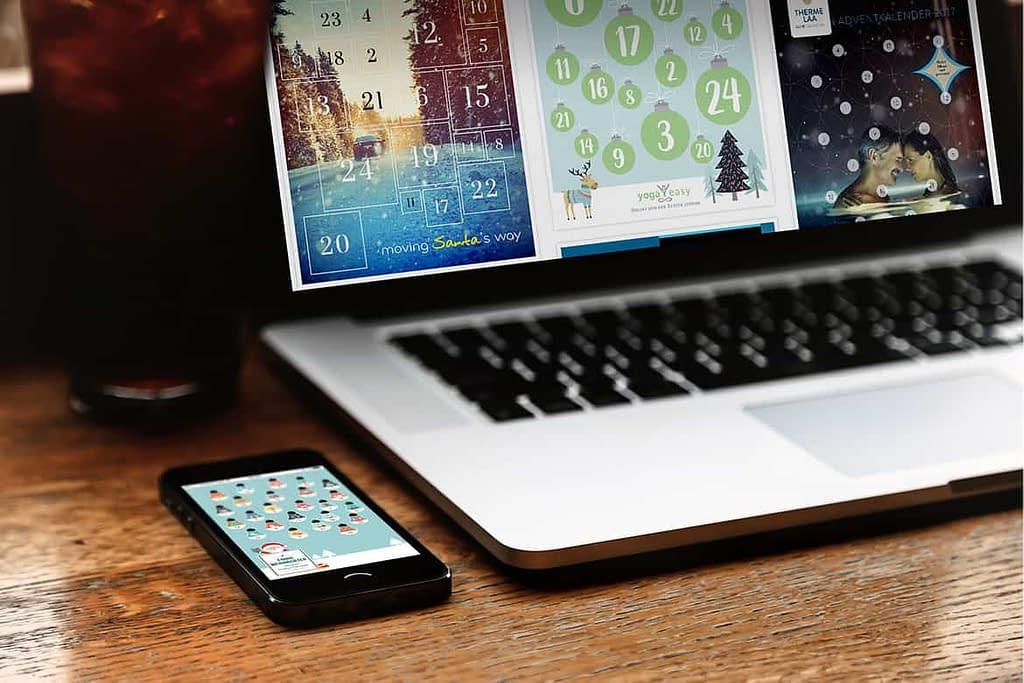Adventskalender Tablet und Computer für Webseite