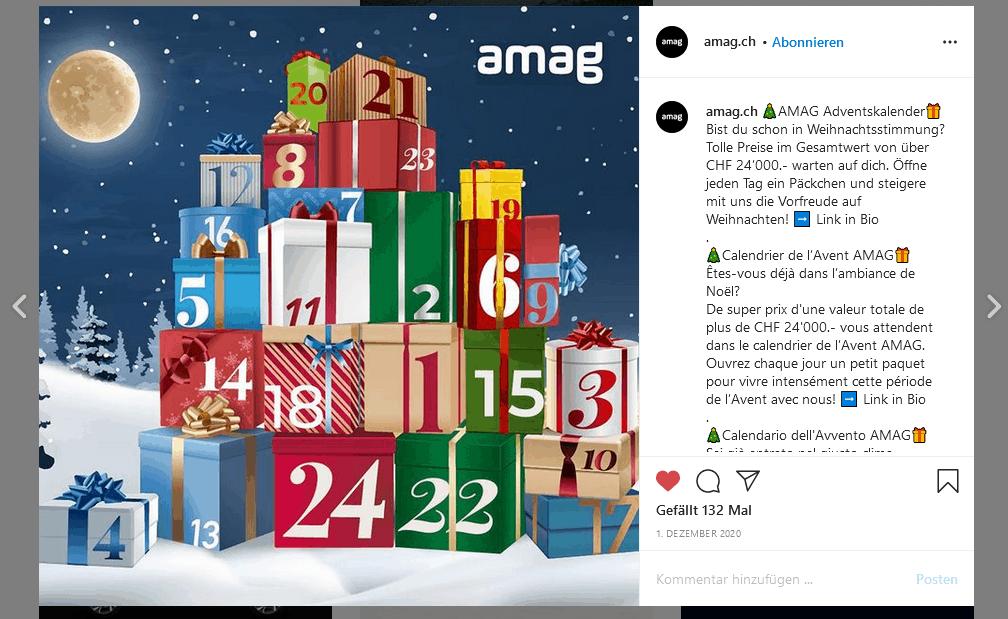 AMAG online Adventskalender Instragram.