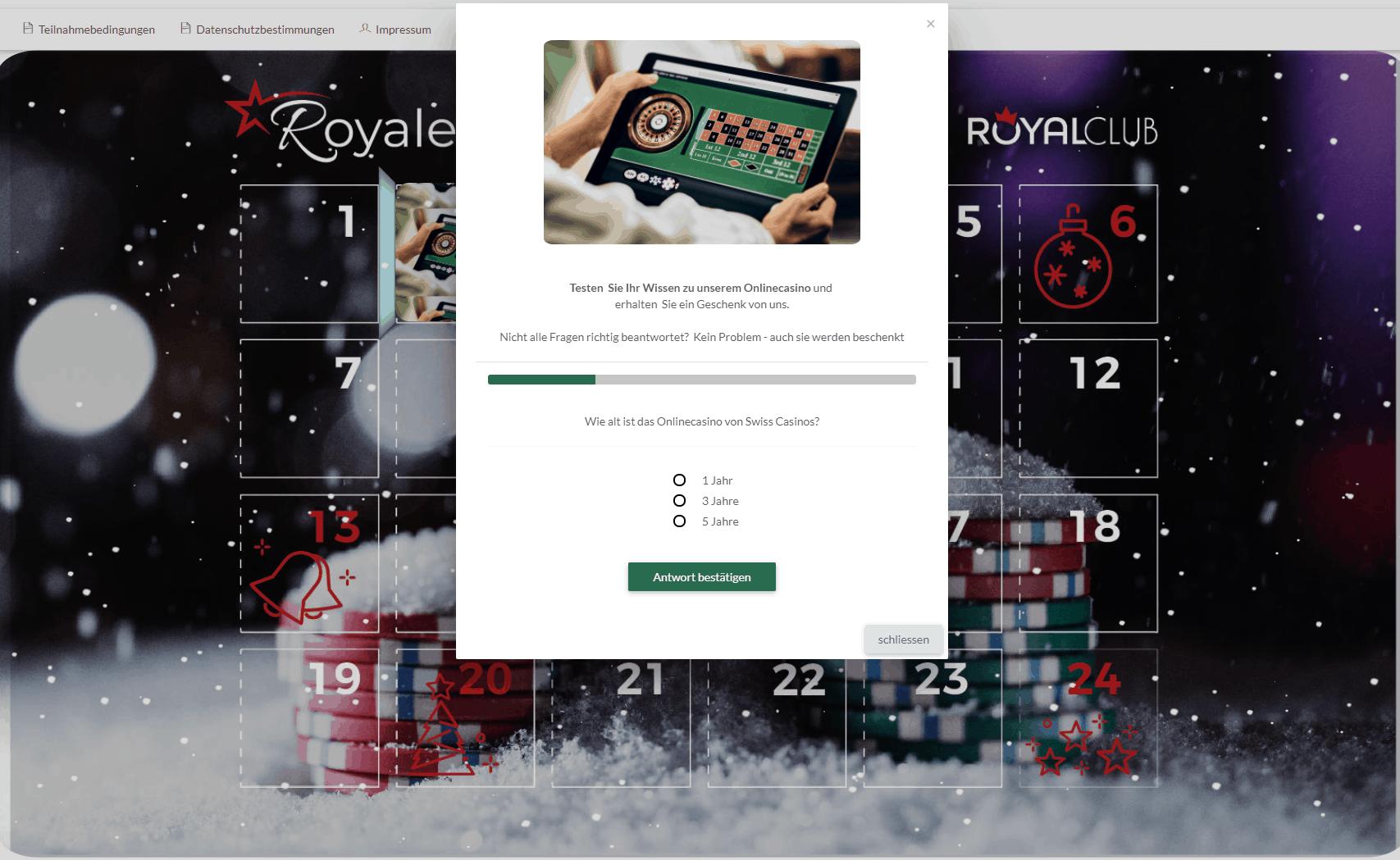 Adventskalender Quiz aus der Swiss Casinos Weihnachtskampagne