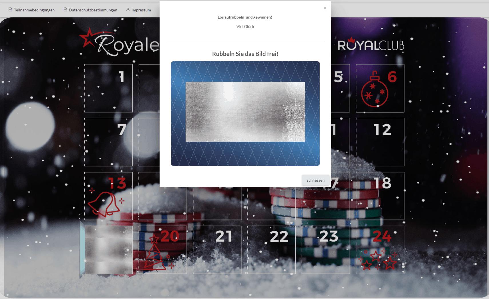 Kalender online Rubbellos - Swiss Casinos Adventskalender