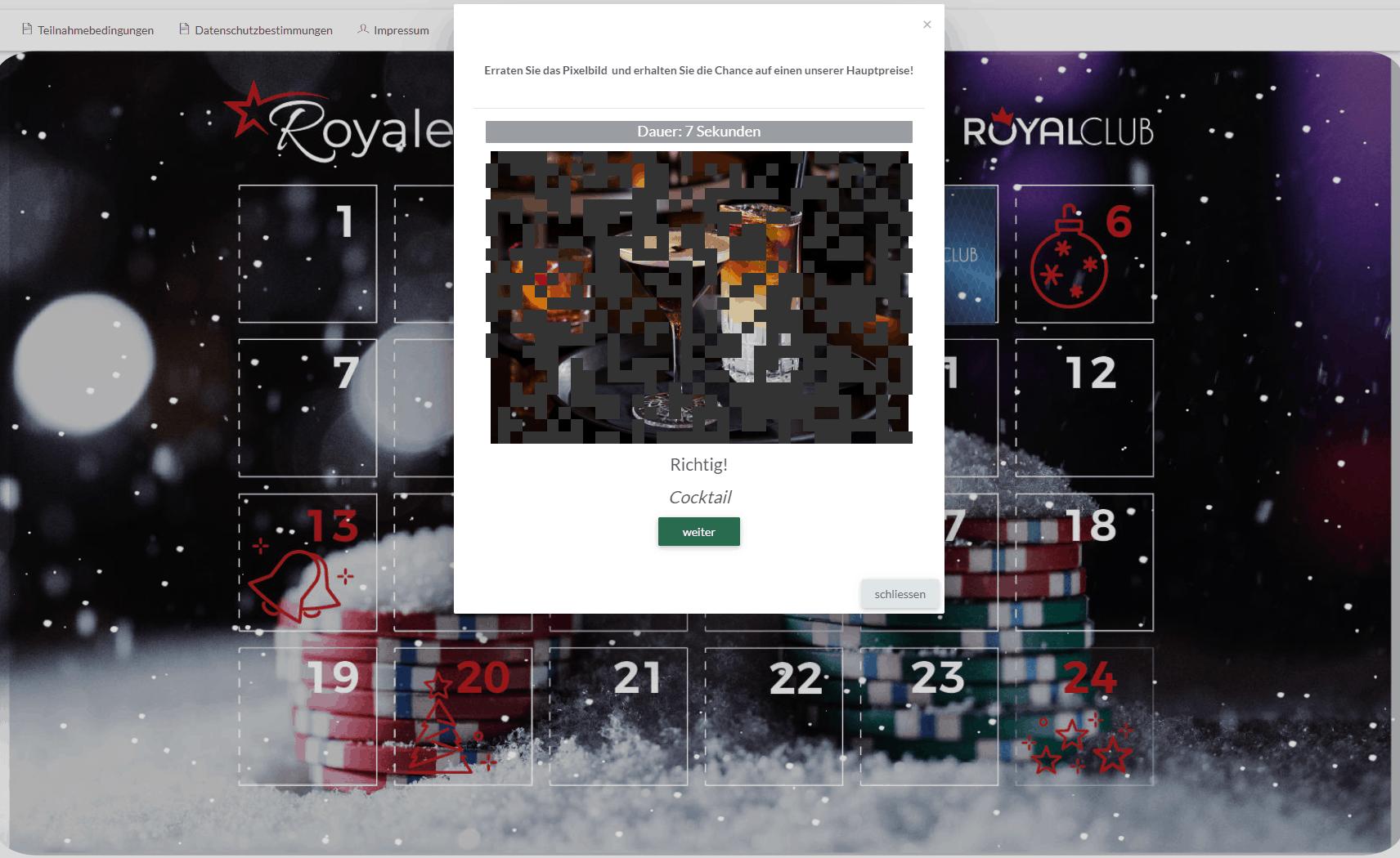 Swiss Casinos - online Adventskalender Pixelbild