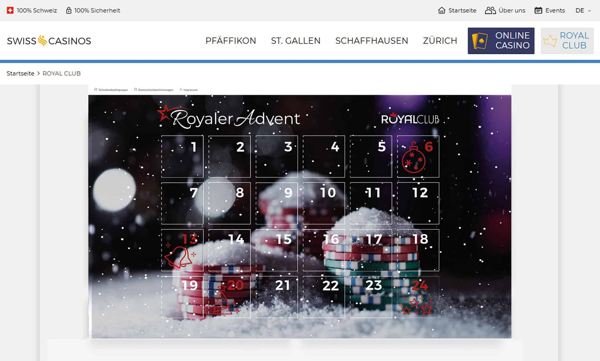 Swiss Casino Adventskalender Webseite Kampagne
