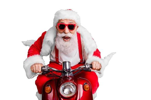 Weihnachtsmann-auf-Moped-Adventskalender